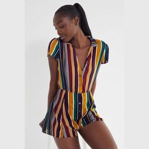 NEW UO Meant To Be Multi Color Button-Down Romper